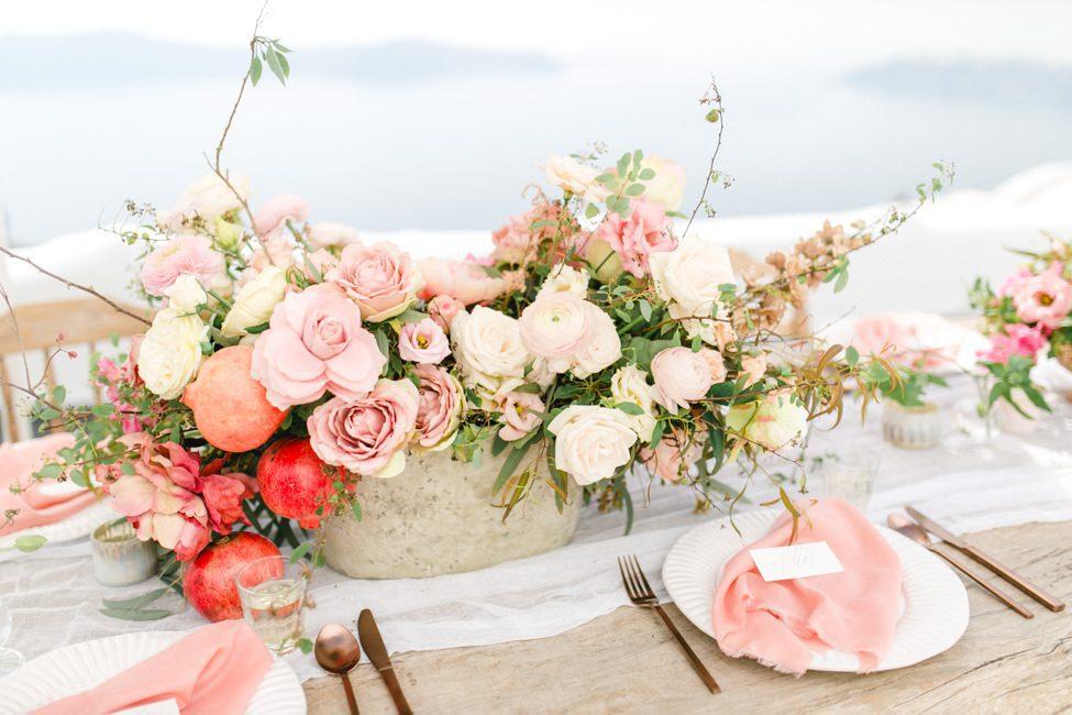 santorini wedding table setting